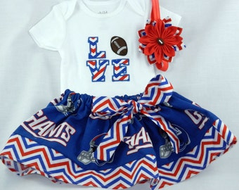 New York Giants NFL Embroidered onesie, skirt, and headband for baby girl, Giants baby outfit NB-18 months
