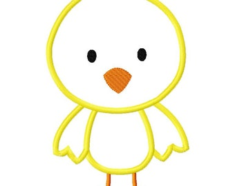 Easter Chick Plain Applique Design  Machine Embroidery Design 4x4 and 5x7