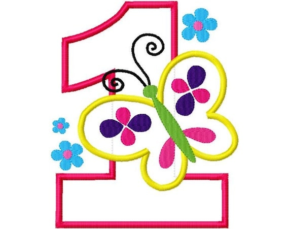 Birthday Butterfly 1 First One Design Applique Machine Embroidery Design 4x4 and 5x7