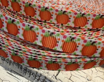 "3 yards 3/8"" Fall Halloween Pumpkin Grosgrain Ribbon"