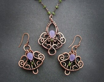 set with chalcedony. Jewelry Set.