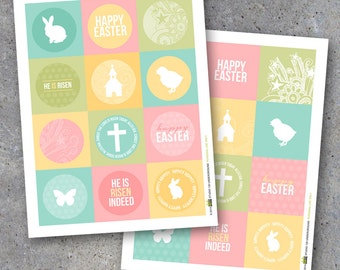 Easter gift tags etsy easter tags printable instant download happy easter gift tags cupcake toppers easter negle Images