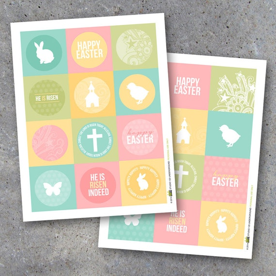 Easter tags printable instant download happy easter gift tags il570xn negle Images