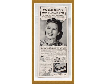 "1940 Palmolive Soap AD / To help keep your complexion lovely / Original print ad / 5 1/8"" x 12 1/2"" / Buy 2 ads Get 1 FREE"