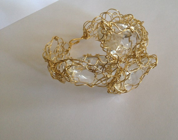 Handmade gold plated wire crochet cuff bracelet with recycled chandelier crystal