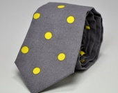 Boy's Necktie - Charcoal Gray and Yellow Dots - Teen Necktie