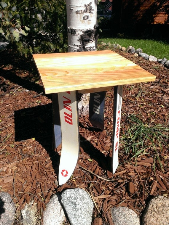 Recycled Ski Side Table Nightstand