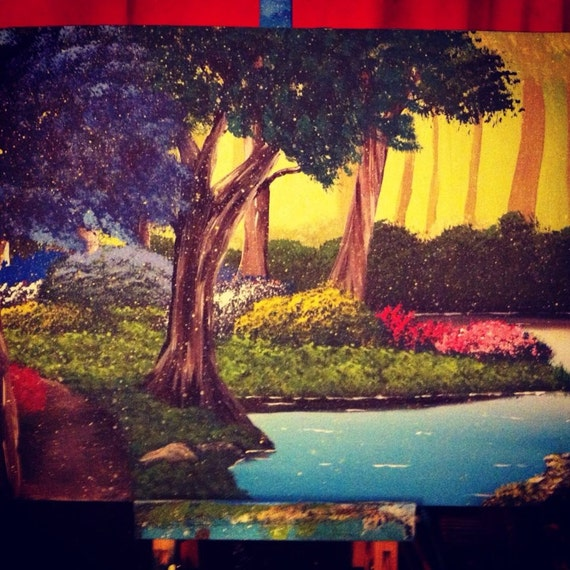 Forest acrylic painting by ashleybuschpaintings on etsy for Painting a forest in acrylics