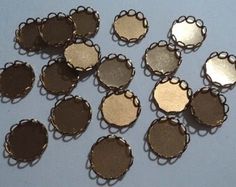 10mm brass round closed back lace edge cup settings 18 pieces lot l