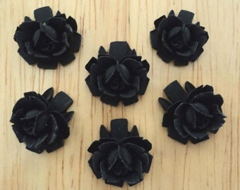 18mm black rose resin flower cabochons (6)