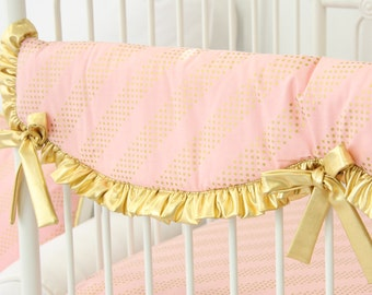 Gold and Blush Crib Rail Cover for Bumperless Bedding