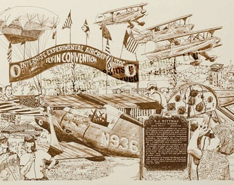 LIQUIDATION SALE! Tribute Print: A potpourri of activity at the internationally world-famous annual fly-in held in Oshkosh, WI