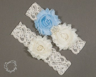 Bridal Garter Baby Blue Garter Wedding Garter Set Lace Garter Vintage Garter Baby Blue and Ivory Garter Set Ivory Lace