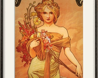 Art nouveau art print Antique prints Mucha art home decor wall old prints Wall poster art retro art print Ad art french wall decor 12x16 art