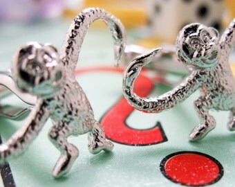 Monkeys Cufflinks Mens Cuff Links Animals Game Classic Silver Tone Fun Cuff Links Very Unique