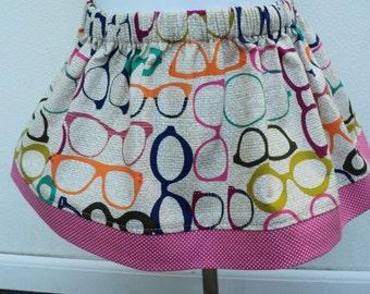 eyeglass twirl skirt baby girl toddler girl colorful skirt michael miller fabric