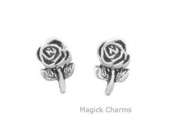 ROSE FLOWER Earrings .925 Sterling Silver Post Stud - se1802