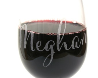 Etched Calligraphy Custom Name Wine Glasses, Perfect for Bridesmaids Gifts! 2 for 24 Dollars