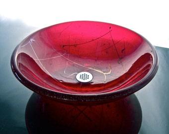 glass sink bowl - Joie De Vivre - Seen here in Red