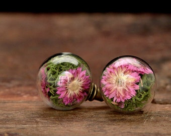 Stud earrings with real flowers - e158a