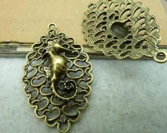 8PCS - Antique Bronze Oceans Seahorse Connector Hippocampuss Charms Pendants 26 x 43mm -No.C2923