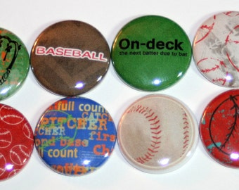Baseball Flat Back Button Flair Set
