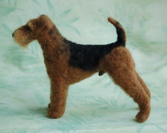 Needle Felted Dog Portrait Sculpture – Airedale