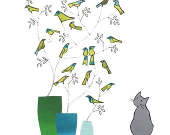 BLUE VASE, Grey cat .Gentle card with a cat looking on wistfully at little lime green birds on twigs .Printed card from collage original.