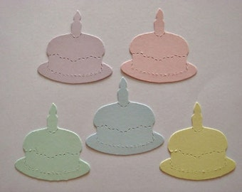 50 Pastel Birthday Cake die cuts for cards/toppers *cardmaking*scrapbooking* craft project