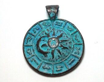 Turquoise Patina Zodiac Pendant, 35mm Zodiac Charm, Astrology Charm, Tribal Charm, Tribal Pendant, Zodiac Pendant, Tribal Pendants, PC0005