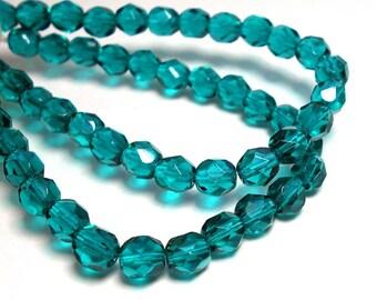 6mm Teal Crystal Czech Beads, Viridian Beads, Blue Green Beads, 6mm Czech Crystals, Crystal Beads, Faceted Beads  D-B12