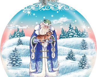 Father Frost in the Winter Forest Ornament; Handcrafted Old World Christmas Gallery Collection for the Tree.(73317)