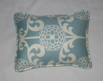 Blue, White Floral Print. Pillow Cover. Modern Look. Accent Pillow. Home Decor. Decorator Pillow. Handmade. Cording and zipper closure.