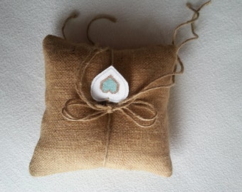 Ring Bearer Pillow. Burlap. Jute Bow. Wedding, Heart embroidery customized to match wedding colors. Ready to use. Satin Ribbon handle..