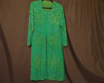Vintage coat green beaded embroidered