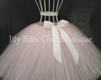 Childrens Any Color Full-Length Romantic Long Tutu Skirt White Bow Weddings Flower Girl Photo Prop Dress-Up Princess Costume