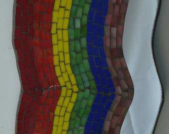 mosaic stained glass hook on wood to hang on your wall.