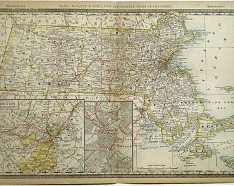 Massachusetts County & Railroad Atlas Map circa 1888 Original Color Lithograph Antique Map Wonderful for Display About 125 Years Old