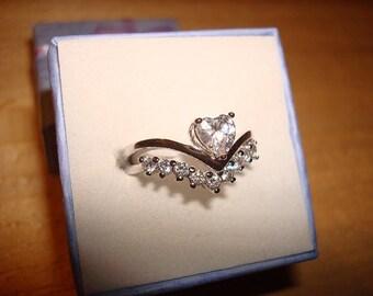 Diamond Cut White Sapphire 10kt White GF Engagement / Wedding Ring Set Size 6