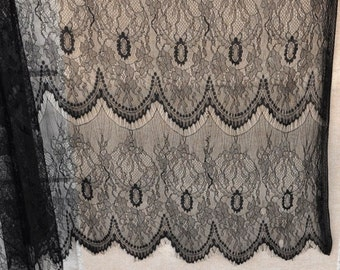 Black Eyelash Lace Fabric by the Yard or Wholesale for dress,ivory white lace fabric