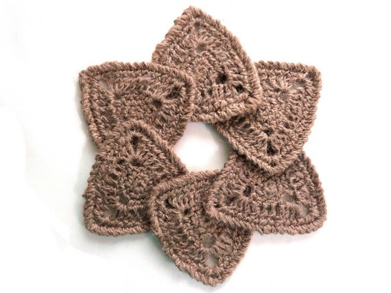 Handmade crochet rustic triangle coaster set of 4 or 6 natural hemp eco-friendly earth friendly