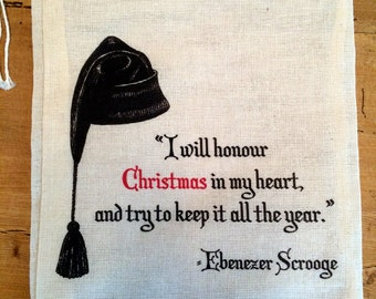 1 Christmas Carol - Scrooge  - Gift Holiday Bag - Party Favor Bag 6x8 7x9 7x11 - Drawstring