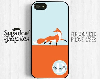 Fox Phone Case Personalized Monogram First Name Initial iPhone 7 Case iPhone 5s iPhone 5c Case iPhone 4 iPhone 4s Samsung Galaxy S3 S4 am52