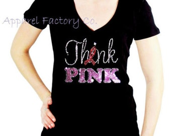 "New Junior Rhinestone Breast Cancer ""Think Pink"" V neck t shirt S-3XL bling bling gift"