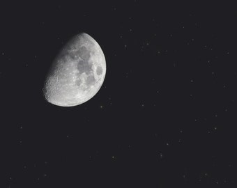 Waxing Gibbous Black and White Photo Print { night, stars, twinkle, illuminated, sky, moon, wall art, macro, nature & fine art photography }