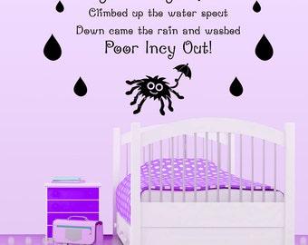 Incy Wincy Spider... Nursery Rhyme Wall Sticker Bedroom Nursery Children's Vinyl Transfer Decoration Wall Art