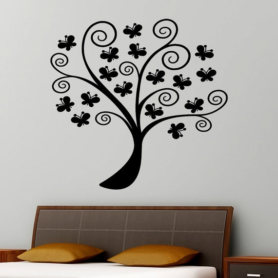 Butterflies in a tree inspirational wall sticker design for Inspiring dollar tree wall decals