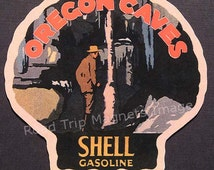 Shell Gasoline 1920s Travel Decal Magnet for OREGON CAVES. Accurate reproduction & hand cut in shape as designed. Nice Travel Decal Art