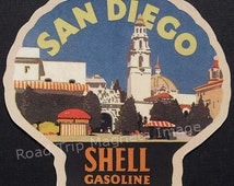 Shell Gasoline 1920s Travel Decal Magnet for SAN DIEGO. Accurately Reproduced & hand cut in shape as designed. Nice Travel Decal Art