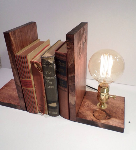 Edison Lamp Rustic Decor Unique Table Lamp Industrial: Edison Bookend Lamp Vintage Lamp Table By UrbanIndustrialCraft